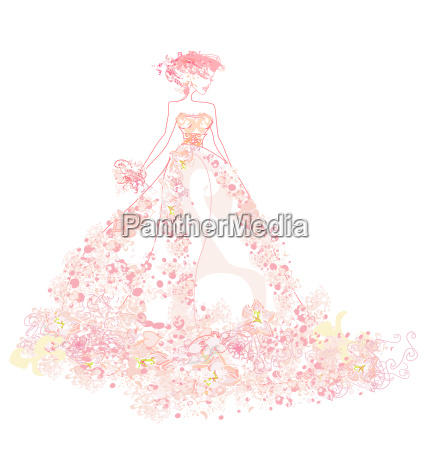abstract beautiful floral woman