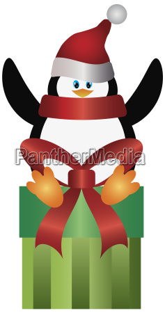 penguin with santa hat on present