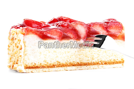 strawberry cake with fork