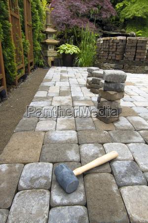 laying, garden, pavers, patio - 7248455