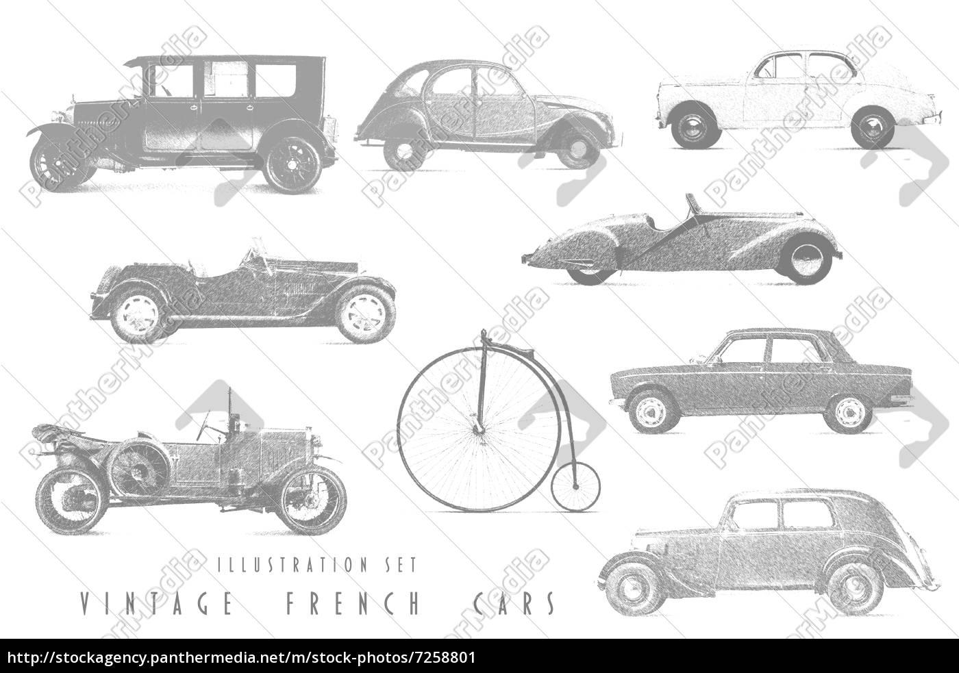 Set Illustrationen mit Strichzeichnungen von Autos - Lizenzfreies ...