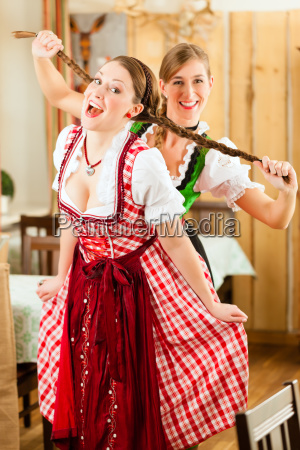 two young women in bavarian traditional