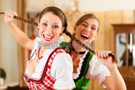 two young women in bavarian costume