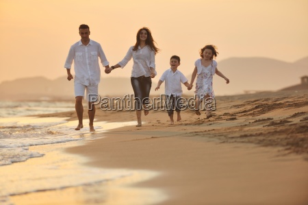 happy young family have fun on