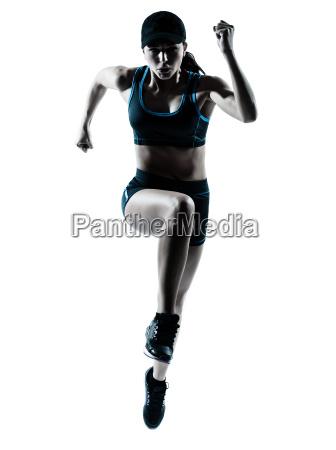 frau laeufer jogger springen
