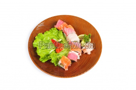 sushi plate isolated on the white