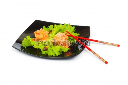 salmon sushi plate isolated on the