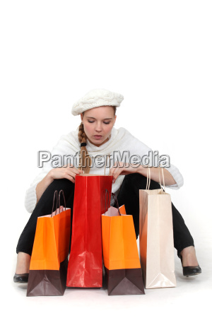 elegant woman looking in her shopping