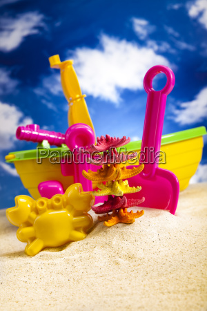 colorful plastic toys on the beach