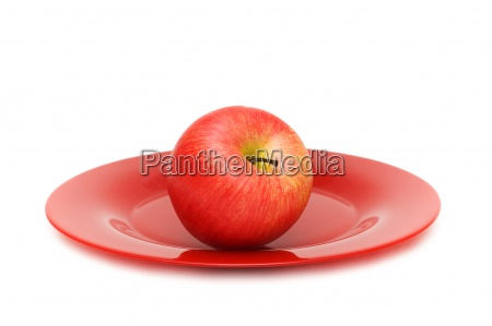 red apple and plate isolated on