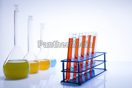 assorted laboratory glassware experiment