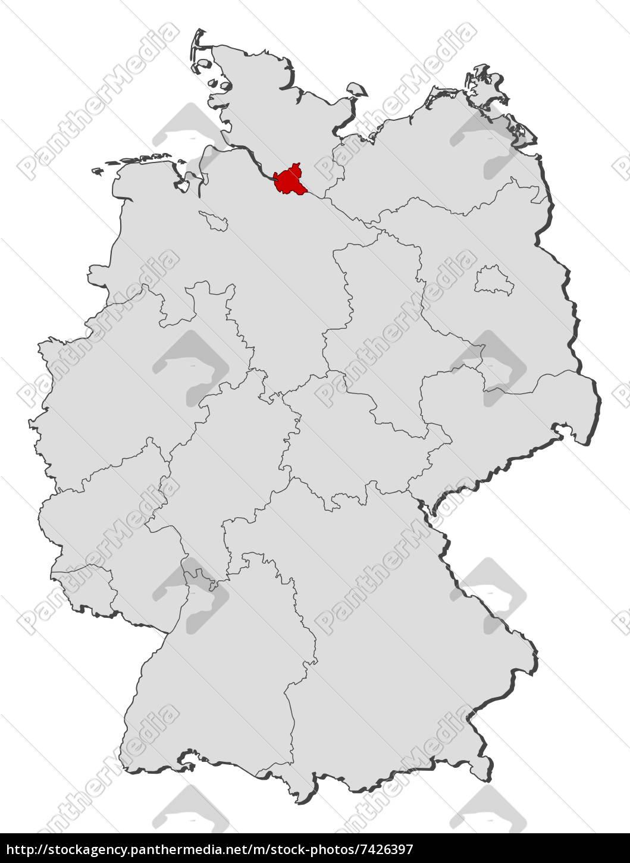 Deutschlandkarte Hamburg Hervorgehoben Lizenzfreies Bild