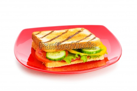 plate with tasty sandwich isolated on