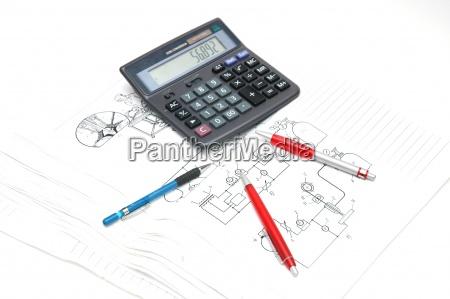 kugelschreiber und taschenrechner ueber die technischen