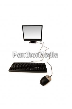 personal computer auf dem weissen hintergrund