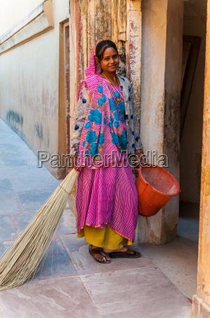 the young indian woman in colorful