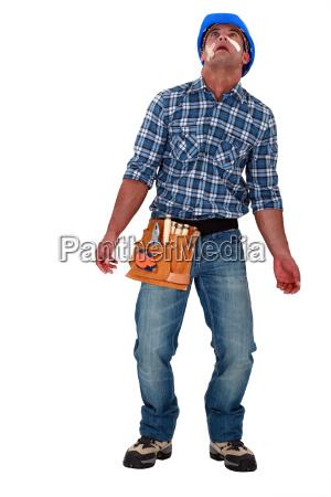injured laborer on white background