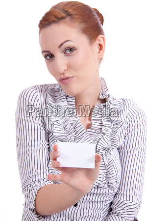 pretty young woman holds a business