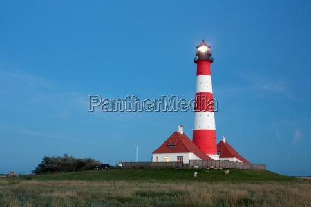 lighthouse westerhever on the north sea