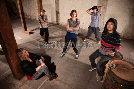 crew of hip hop dancers waiting