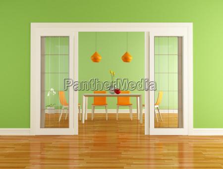 gruen und orange esszimmer