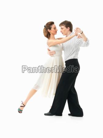 leidenschaftlich, tanzendes, paar, auf, weißem, hintergrund - 7546140