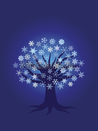 winter snowflake tree night scene illustration