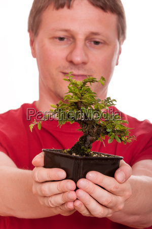 man holding a bonsai tree in