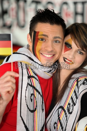 german football fans watching the game
