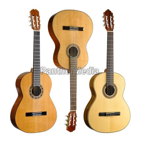 drei konzertgitarren im set auf weiss