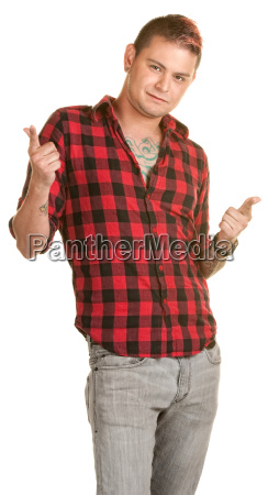 cool young man pointing