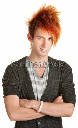 young punk rocker with folded arms