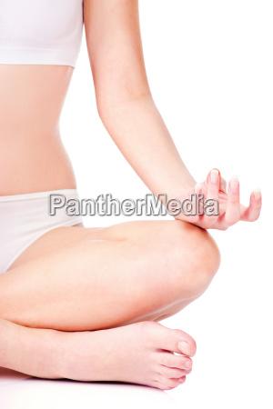 woman in underwear meditate