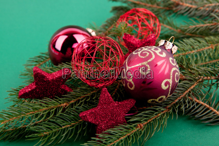 festive christmas tree ornaments with red