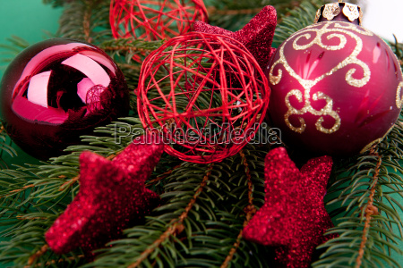 festive christmas decorations with red christmas