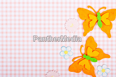 pink greeting card with butterflies