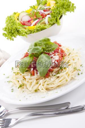 fresh delicious spaghetti with tomato sauce