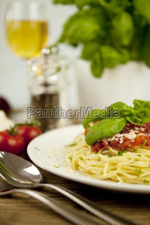 fresh tasty spaghetti with tomato sauce