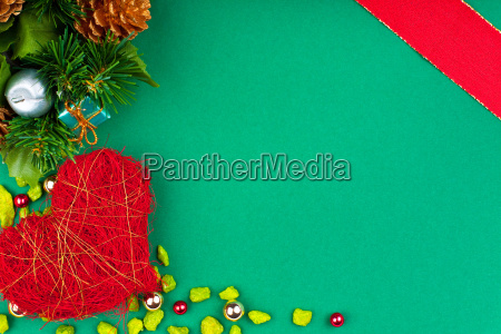 green christmas card with red heart
