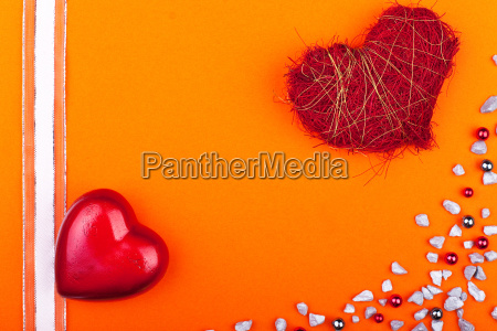 orange card with red hearts