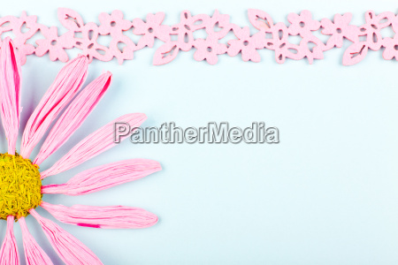 greeting card with pink border and