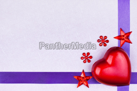 purple greeting card with heart and