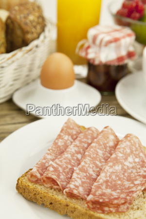 fresh breakfast with toast salami egg