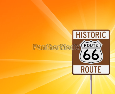 historic route 66 on yellow