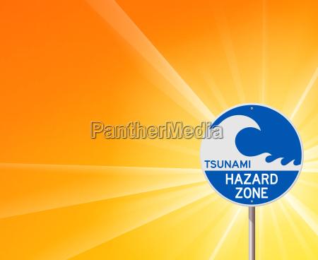 tsunami warnung und sonnenschein