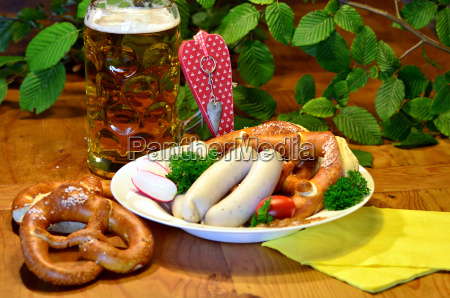 bavarian bretzeit with white sausages beer