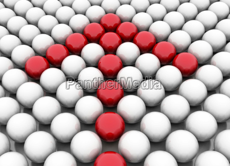 red arrow made of spheres