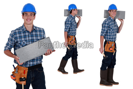 arbeiter tragen brise block