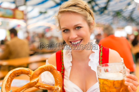 young woman in traditional dirndl in