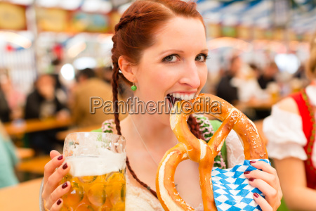 woman with traditional bavarian clothes or